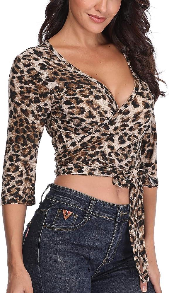 Leopardo de impresión Abrigo Mujeres Top Camisas con Cuello en V Blusa Corta 1/2 Mangas señoras túnica Sexy Crossover Cintura Tie - S: Amazon.es: Ropa y accesorios
