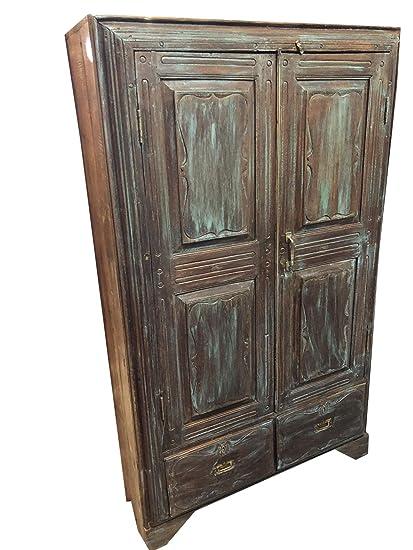 Amazon.com: Antique Armoire Rustic Distressed Blue Indian ...