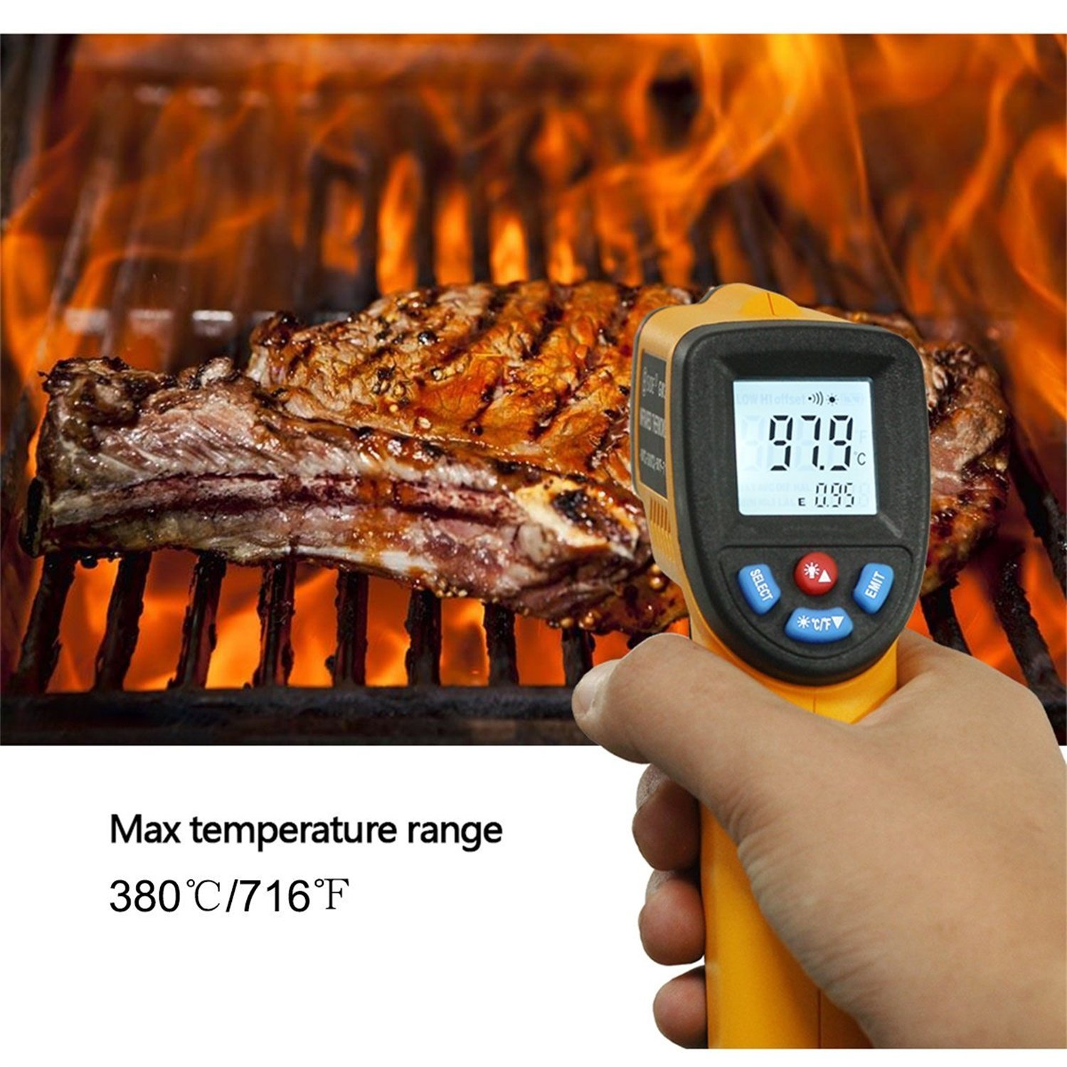 BSIDE GM320 Non-contact Digital Laser Infrared Thermometer Temperature Gun -58 -716 -50 -380 for Cooking BBQ Kitchen Automotive and Industrial