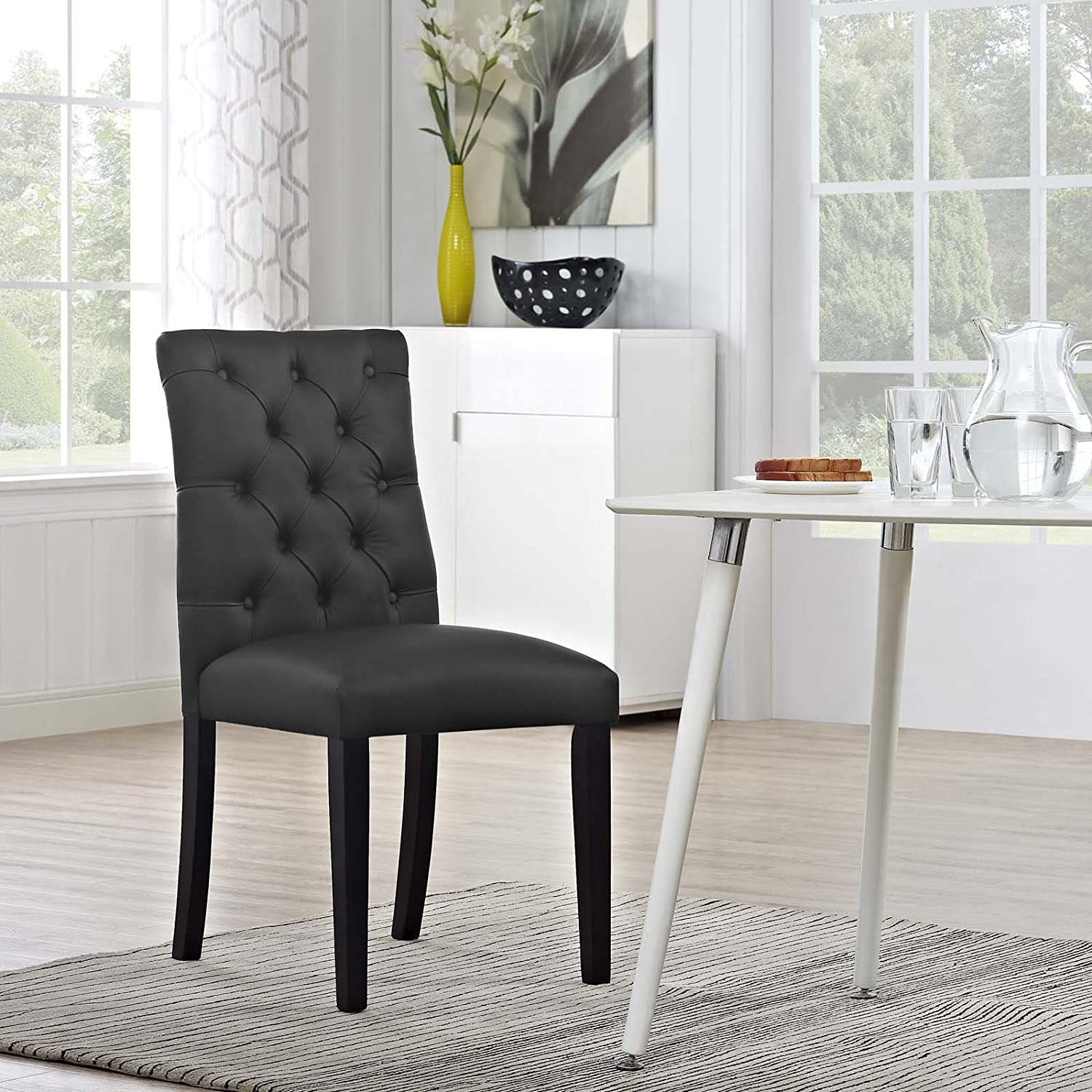 Modway Duchess Modern Tufted Button Faux Leather Upholstered Parsons Kitchen and Dining Room Chair in Black
