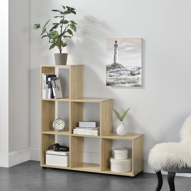 en.CASA Étagère escalier avec 6 Compartiments Bibliothéque Armoire séparateur MDF mélaminé 104 x 107 x 29cm Blanc ® en.casa