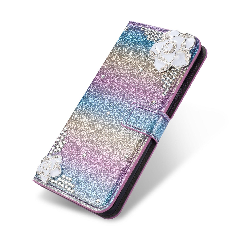 SevenPanda Samsung S6 Edge Flip Brieftasche H/ülle Ros/égold Luxus Bling Diamant Glitter 3D DIY Feather Feder Blume PU Leder Magnetverschluss Folio Stand H/ülle f/ür Samsung Galaxy S6 Edge