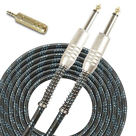 SUNYIN Cables de instrumentos musicales, acordes para guitarra eléctrica y bajos Adaptador de audio estéreo