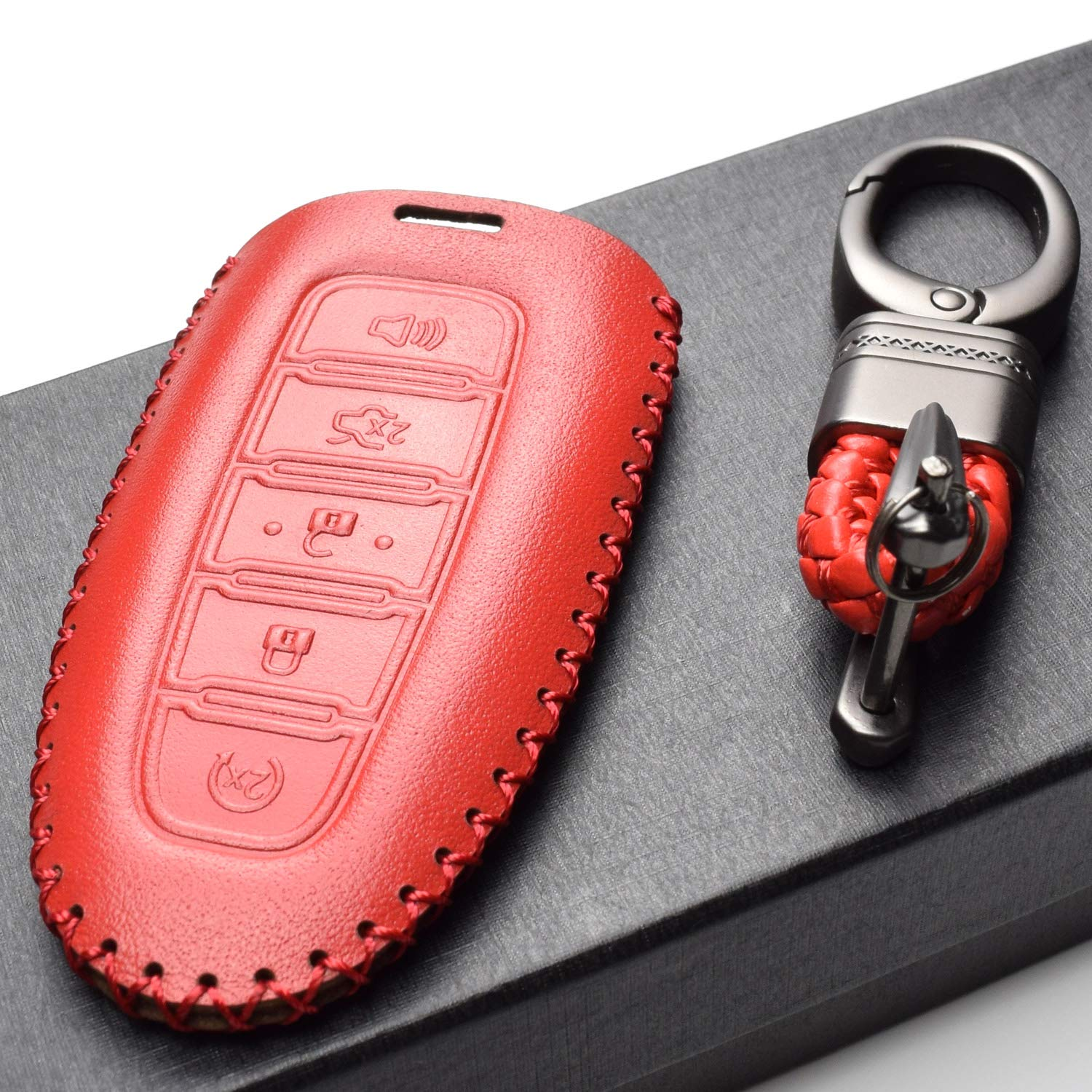 Vitodeco Genuine Leather Cover Keyless Entry Remote Smart Key Fob Case with Key Chain for Ford and Lincoln Black