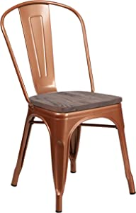 Flash Furniture Copper Metal Stackable Chair with Wood Seat