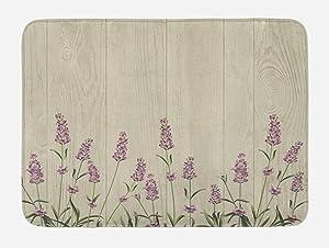 "Lunarable Lavender Bath Mat, Aromatic Herbs on Wooden Planks Springtime Nature Botany Illustration, Plush Bathroom Decor Mat with Non Slip Backing, 29.5"" X 17.5"", Green Lilac"