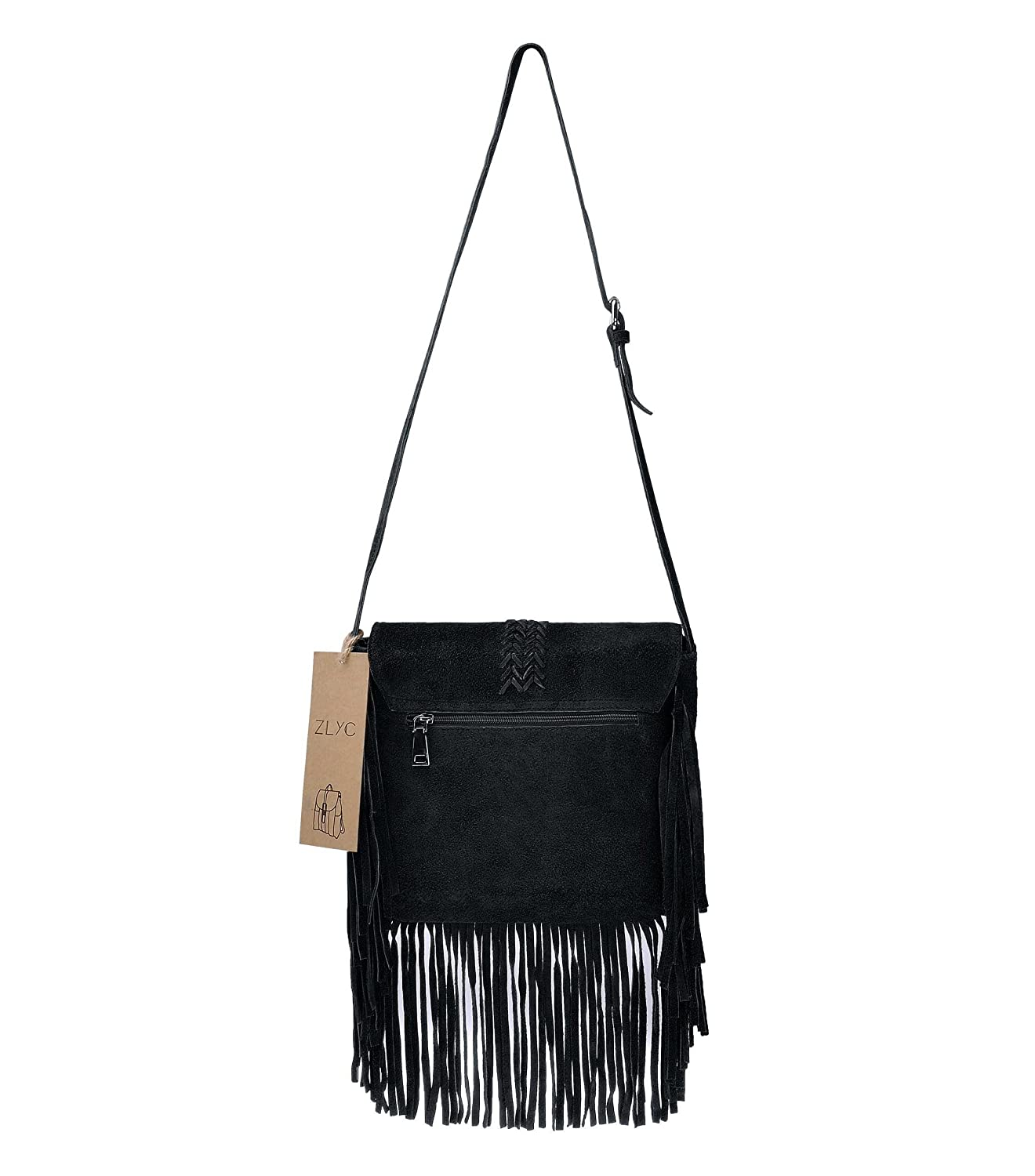 cba187dc3846 ZLYC Women Bohemian Nubuck Leather Fringe Bag Pouch Tribal Tassel Cross  Body Shoulder Bag