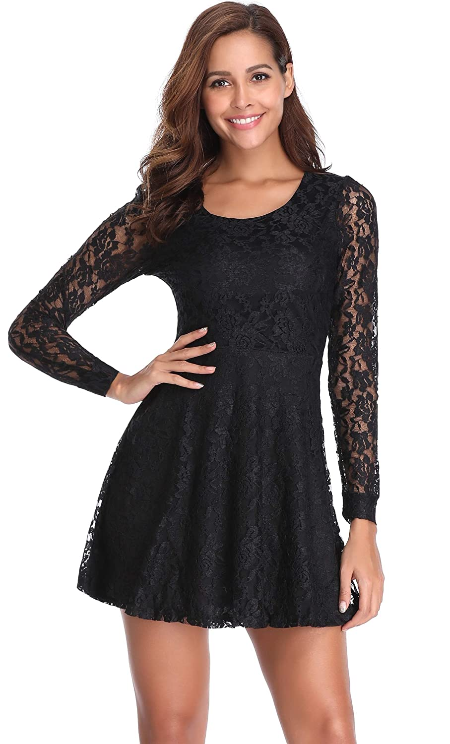 137f9bc64ab Argstar Women s Scoop Neck Sheer Long Sleeves Floral Lace Dress ...