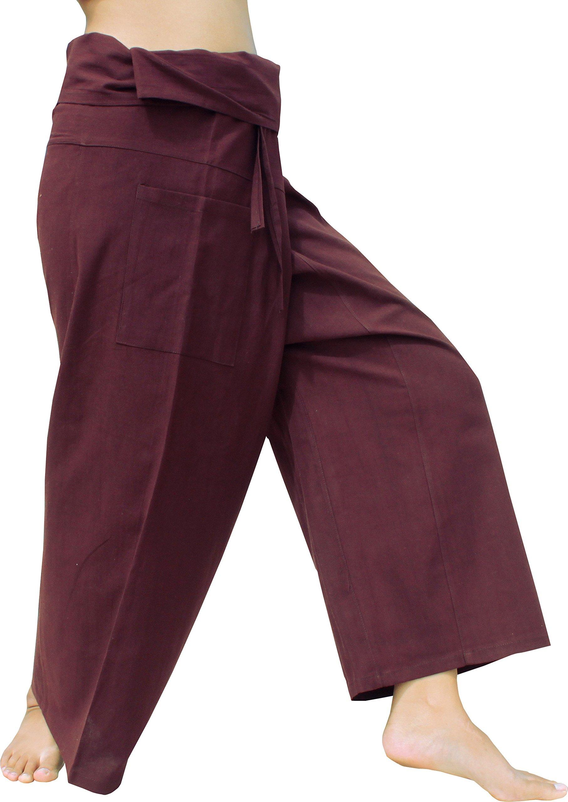 Raan Pah Muang Brand Light Summer Cotton Thai Plain Fisherman Wrap Pants Tall Cut, Small, Dark Brown by Raan Pah Muang
