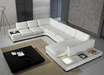 Amazon.com: T35   White Bonded Leather Sectional Sofa Set With Light:  Kitchen U0026 Dining