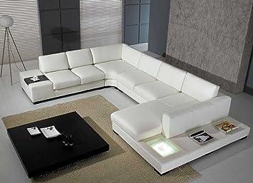 Superior Amazon.com: T35   White Bonded Leather Sectional Sofa Set With Light:  Kitchen U0026 Dining