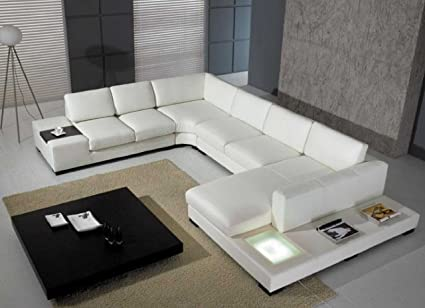 T35   White Bonded Leather Sectional Sofa Set With Light