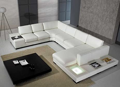 Amazon.Com: T35 - White Bonded Leather Sectional Sofa Set With