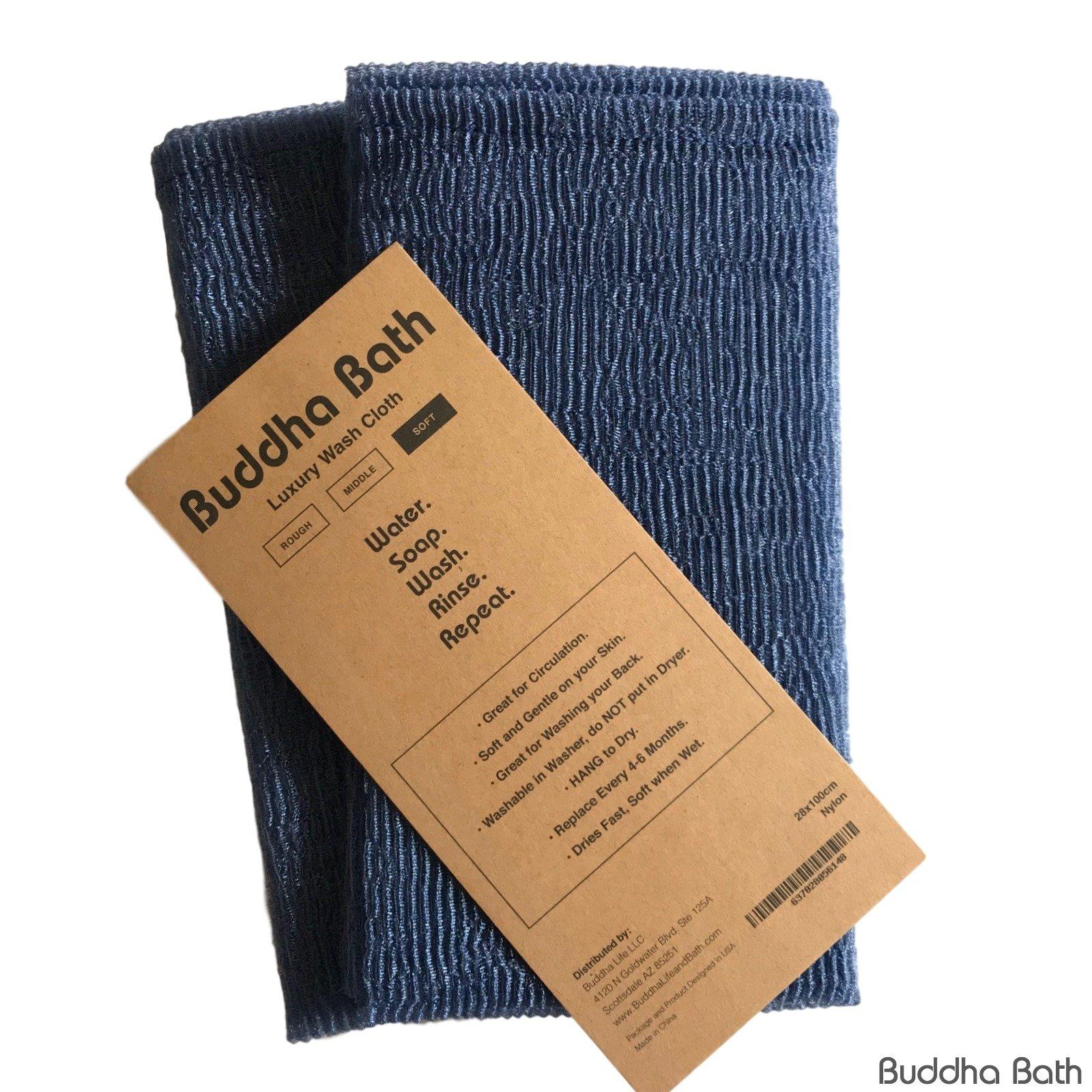 2 Pack Buddha Bath Dry Fast Long Asian Washcloth - Soft Exfoliate