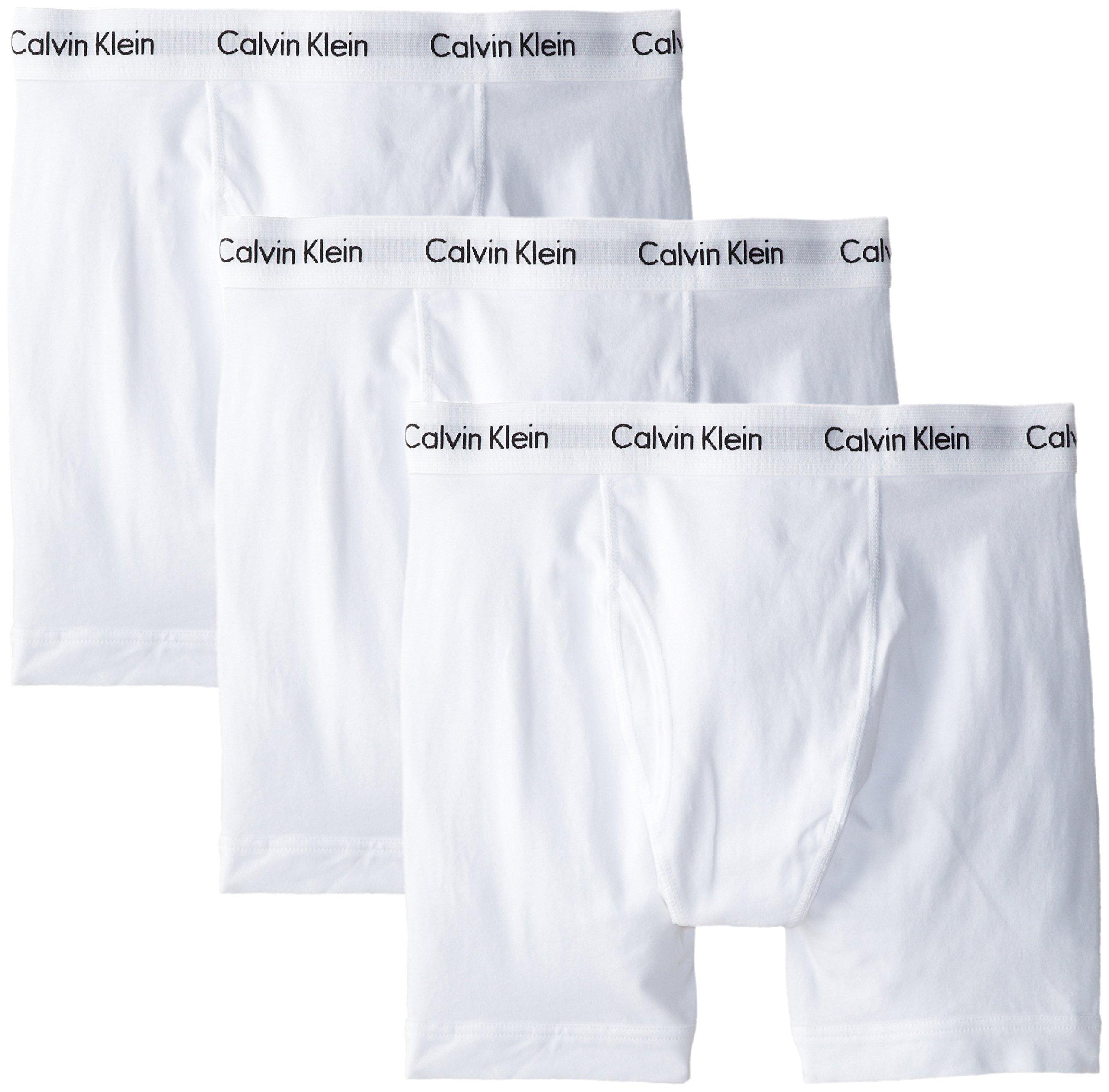 Calvin Klein Men's Underwear Cotton Stretch 3 Pack Boxer Brief, White, Medium