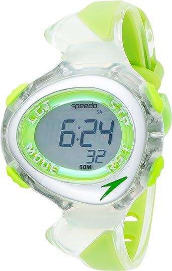Speedo active swim - Reloj digital infantil de cuarzo con correa de goma verde (cronómetro, luz, alarma, cuenta vueltas) - sumergible a 50 metros: Amazon.es: Relojes