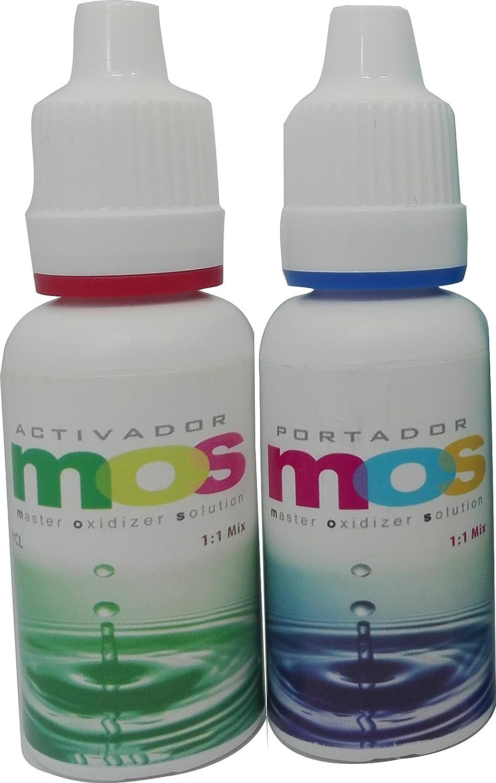 Oxi-Gen MOS clorito de sodio 25% + HCL 4%, Frascos gotero de alta calidad y fácil dosificación 20 ml. Formula clásica para producir Dióxido de cloro.