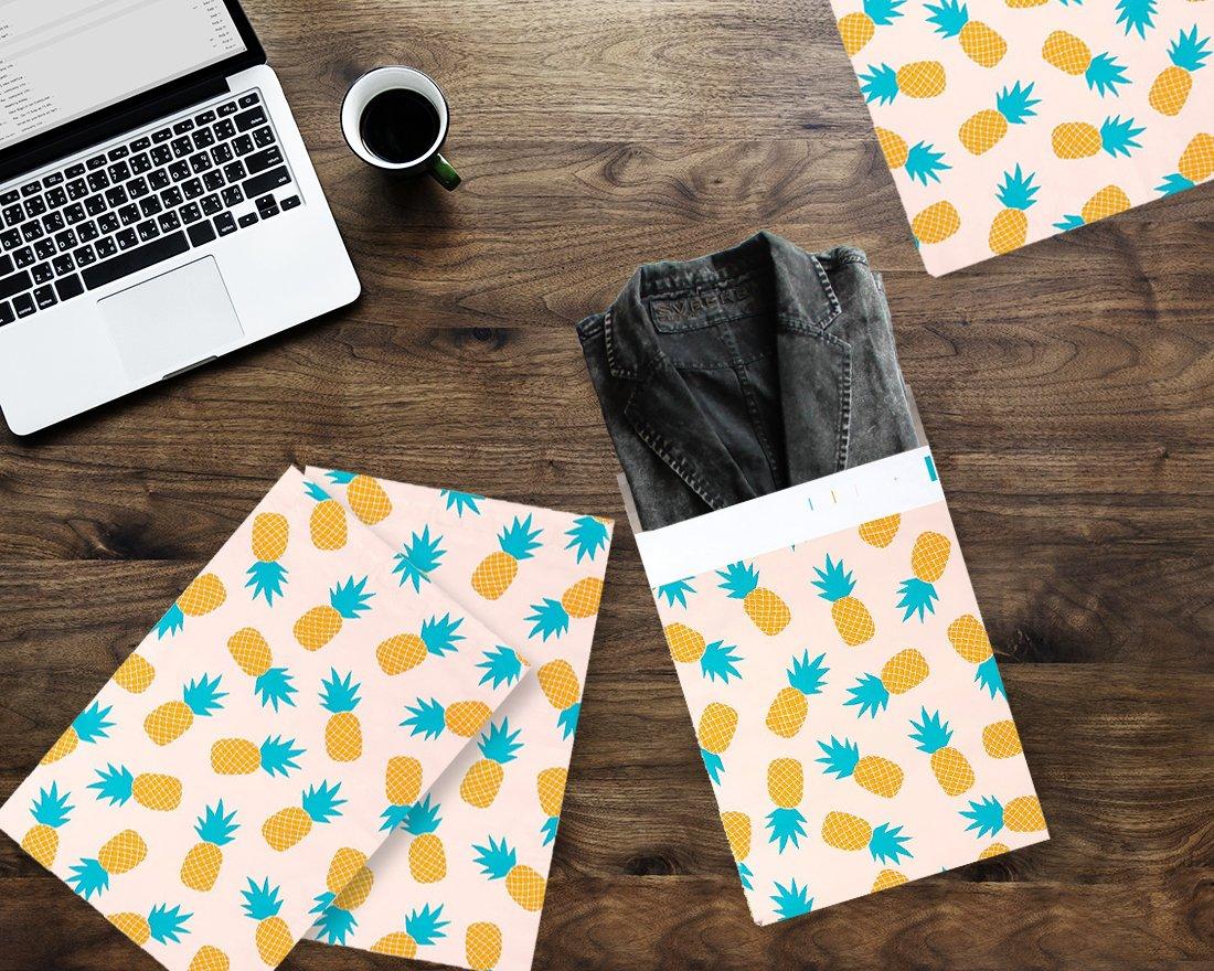 Lot de 100 enveloppes en poly/éthyl/ène,10 x 13 cm Ananas