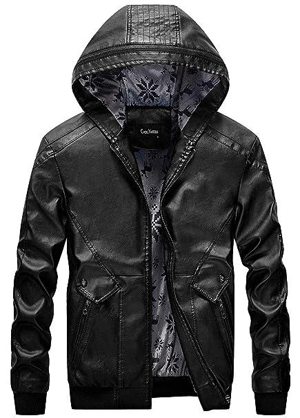 Chouyatou Mens Stylish Hooded Zip Front Fleece Lined Moto Pu Leather Bomber Jackets