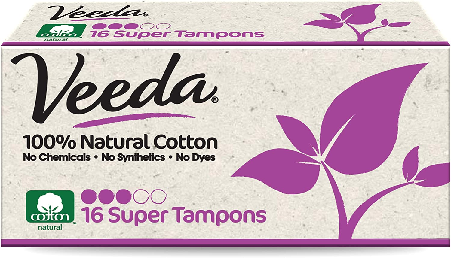 Veeda 100% Natural Cotton Applicator Free Tampons Super Absorbent Comfort Digital Super Tampons Chlorine Toxin and Pesticide Free, 16 Count