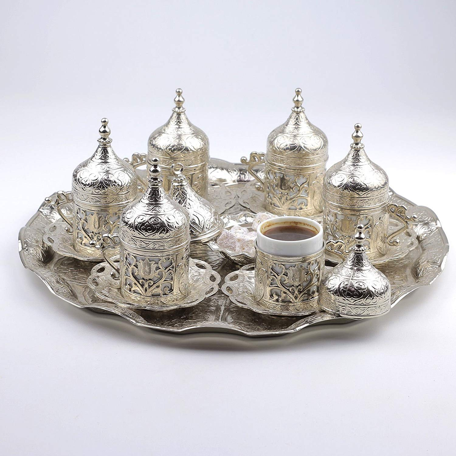 New 27 Pc Ottoman Turkish Greek Arabic Coffee Espreso Serving Cup Saucer Silver (Kubbeli) Alisveristime 98072-11