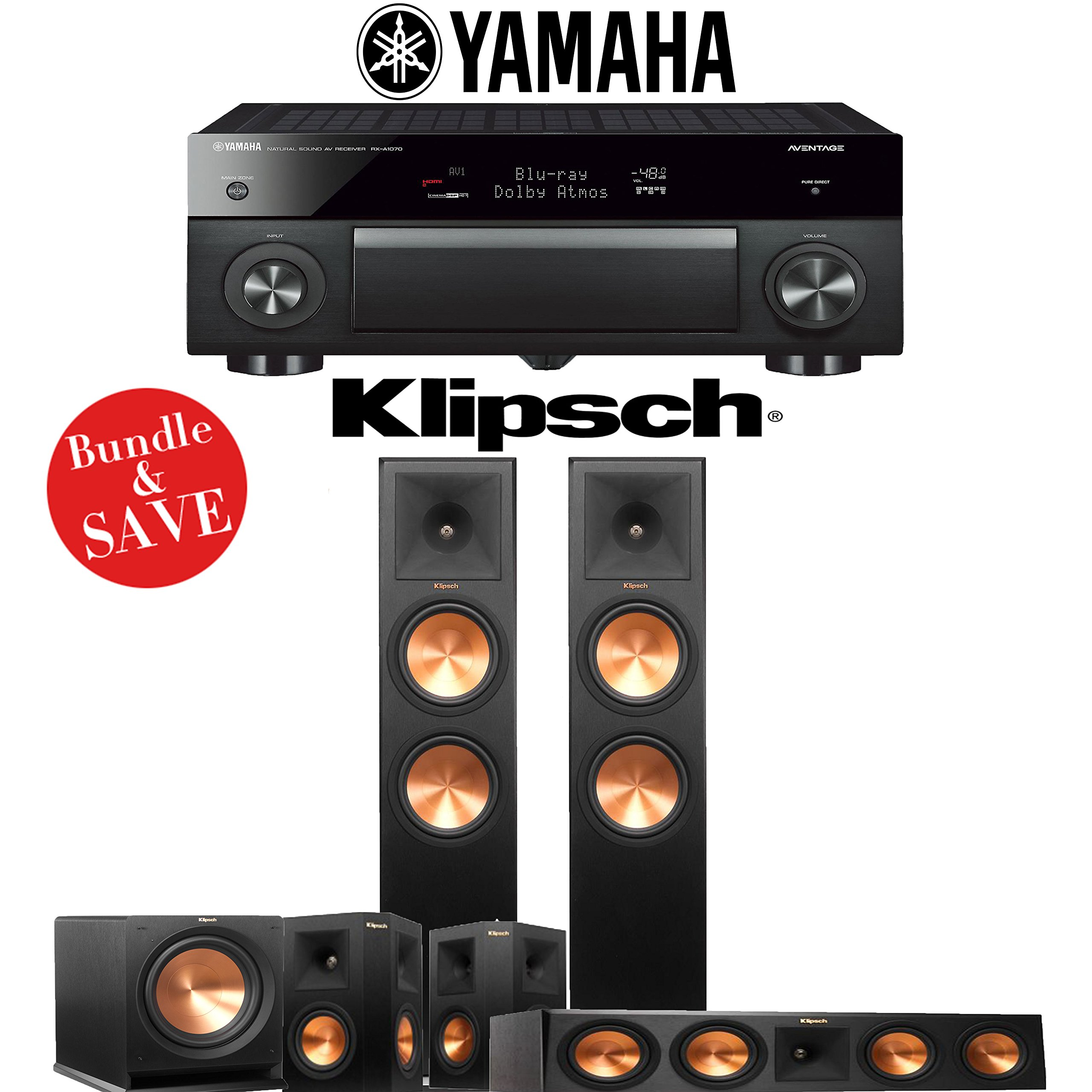 Klipsch RP-280F 5.1 Reference Premiere Home Theater System with Yamaha AVENTAGE RX-A1070BL 7.2-Channel Network AV Receiver by Klipsch