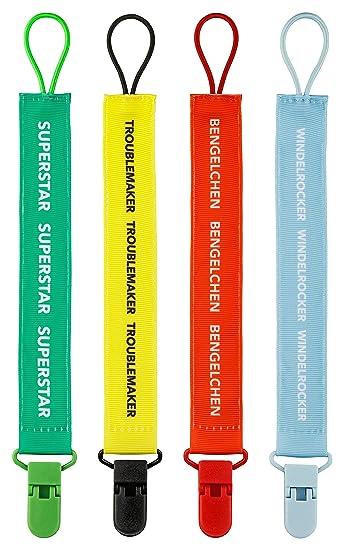4er Pack Schnullerhalter Schnullerband Stoff Schnullerkette mit Clip