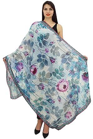 2c3203be5cc Phagun bleu enveloppe d écharpe florale long Sarong Femmes d été Châle  Echarpes-