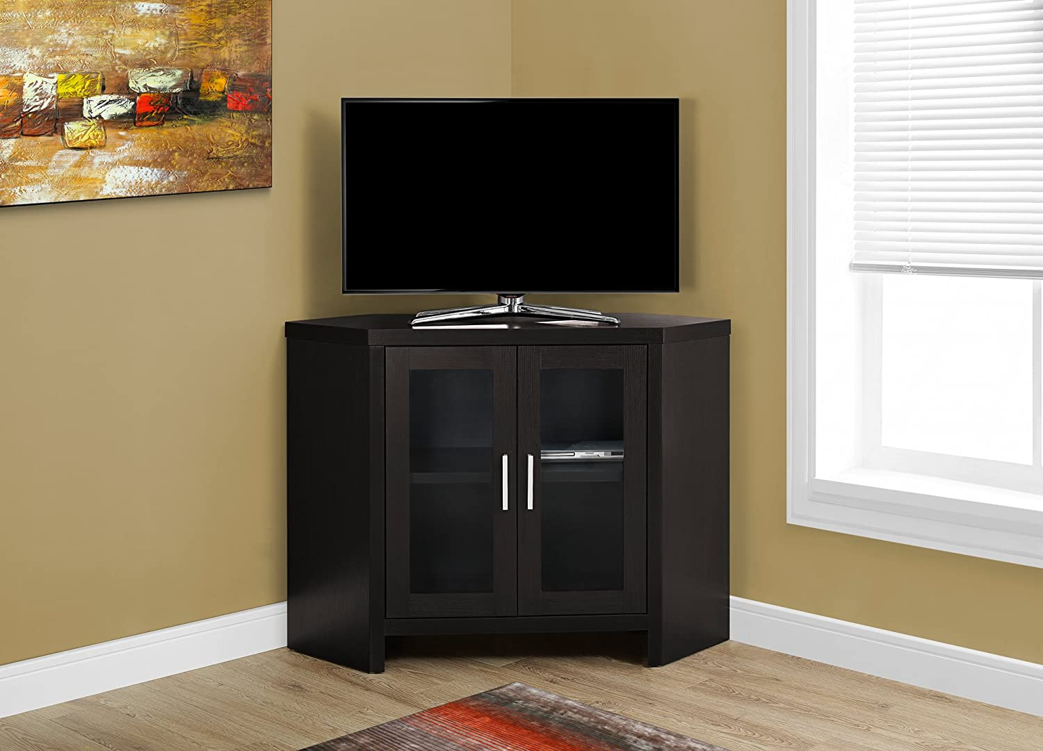 "Monarch Specialties I 2700 Cappuccino Corner with Glass Doors TV Stand, 42"", Brown"