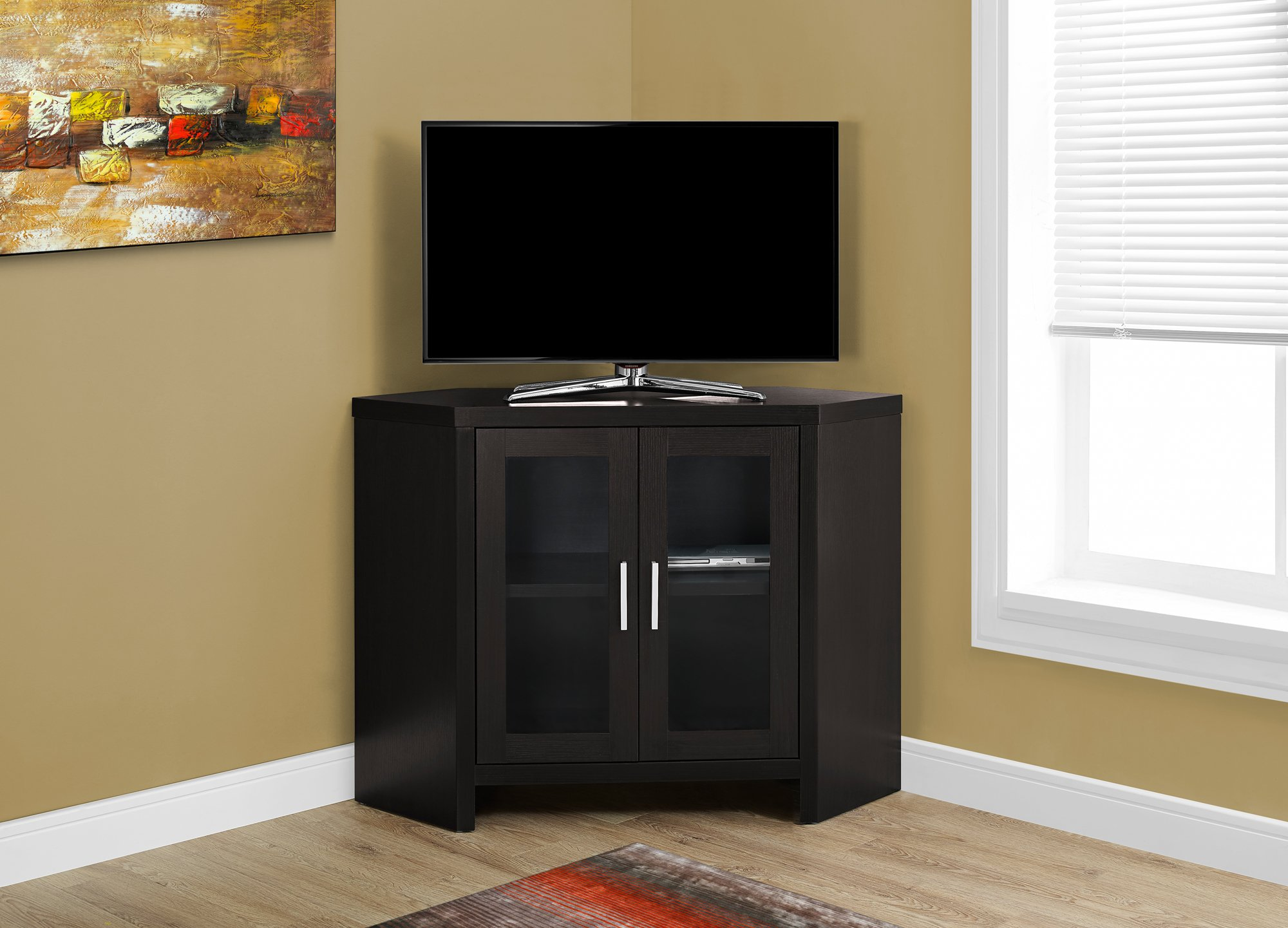 Monarch Specialties Cappuccino Corner with Glass Doors TV Stand, 42''