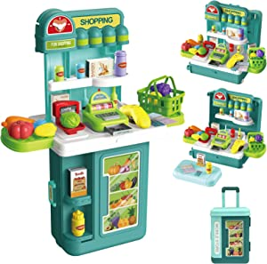 GRESAHOM Pretend Playset Shopping Toy for Kids ,4 in1 Travel Suitcase Mobile Store Kit Supermarket Cash Register Scanner Food Fruit Vegetable 43 PCS Role Play Accessories Gift for Boys Girls