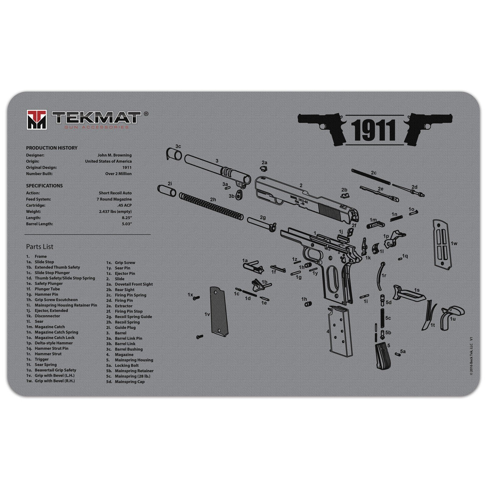 TekMat 11-Inch X 17-Inch Handgun Cleaning Mat Universal 1911 Bonus 5 oc Gun Cleaning Brush & Pick Set by EDOG (Image #1)