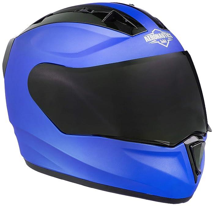 Steelbird SA-1 Aeronautics Full Face Helmet with Smoke Visor (Matt Blue, L)