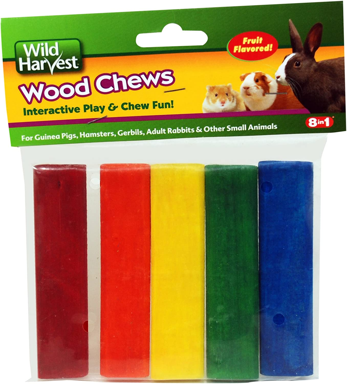 Wild Harvest P-84127 Colored Wood Chews for Small Animals, Fruit Flavored, 5-Count