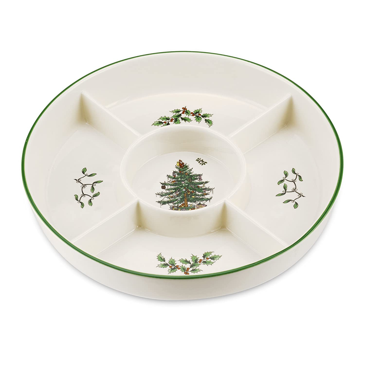 Spode Christmas Tree 5-Section Hors D'oeuvres Low Platter Portmeirion USA 1556249
