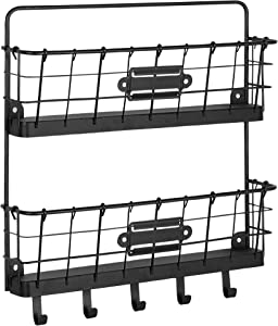 Spectrum Diversified Vintage 2-Tier Organizer & Key Rack Farmhouse Entryway Mailbox with Hooks, Rustic-Style Wall-Mounted Mail Center & Key Holder, One, Black