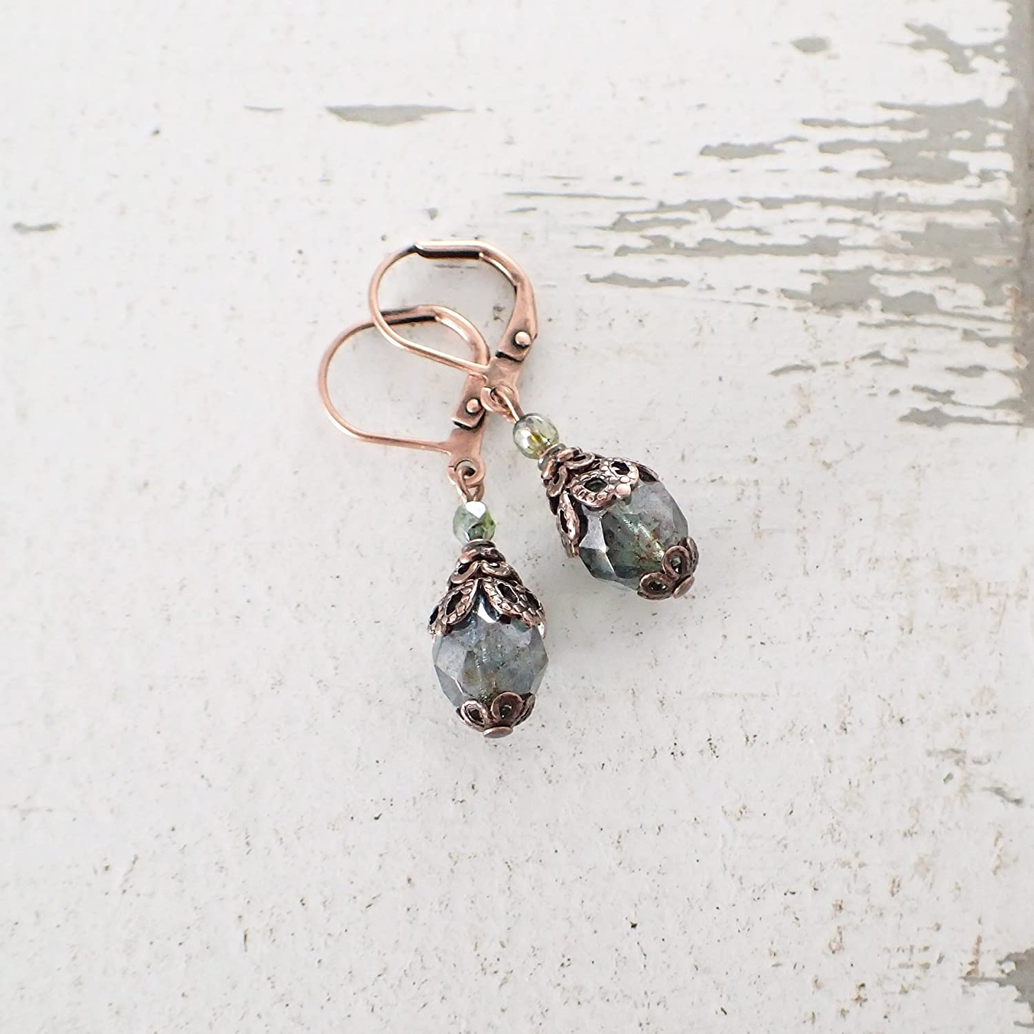 Antique Style Rustic Green and Copper Colored Earrings