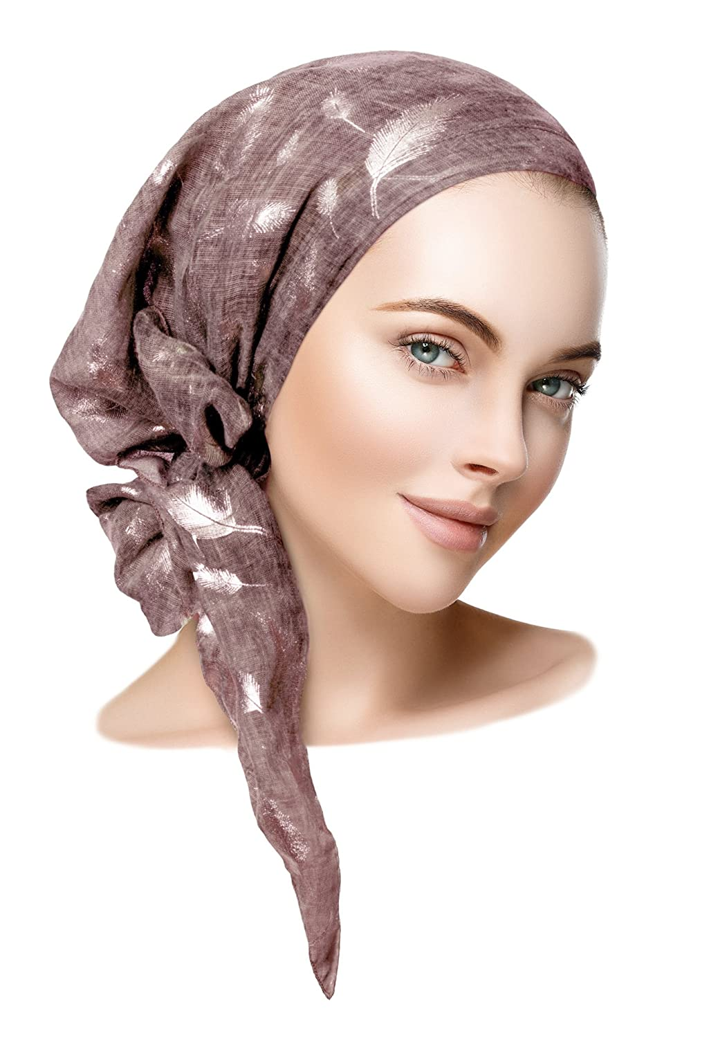 purplec silver feather long Sharipink Soft Lightweight preTied HeadScarf Tichel Weightless Collection  Over 50 colors