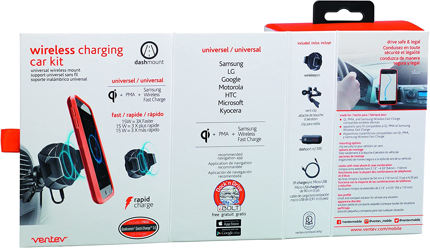 Qualcomm Quick Charge 3.0 Universally Compatible with Mobile Devices Fast Charging Ventev Wall Charger Wallport RQ1300 Mfi Certified No-Fray Durability Designed for Cases