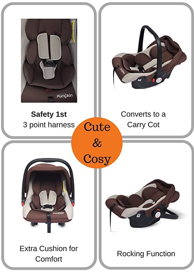Little Pumpkin - Kiddie Kingdom - Infant Car Seat Cum Carrycot (Brown Beige)