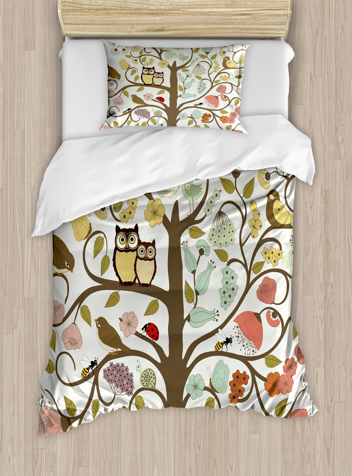 Ambesonne Animals Duvet Cover Set Twin Size, Retro Style Tree with Flowers Bugs and Bees Owl Birds Insects Vintage, Decorative 2 Piece Bedding Set with 1 Pillow Sham, Almond Green Eggshell