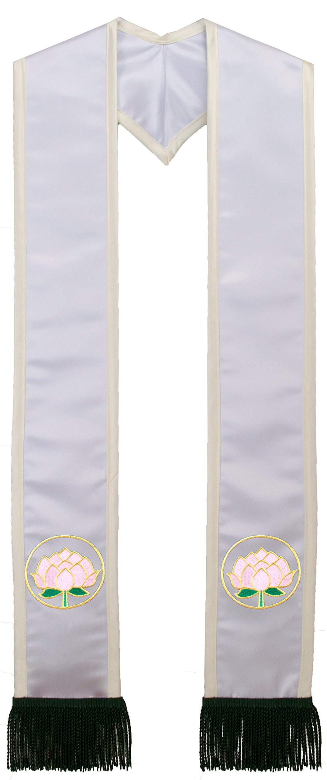 Deluxe White Satin Clergy Stole with Embroidered Lotus Flower Border and Fringe