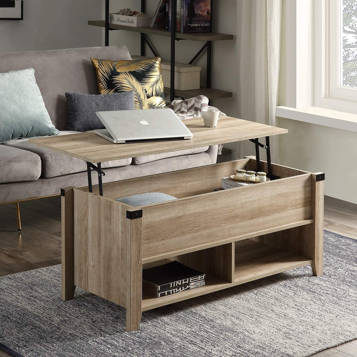 Henf Lift Top Coffee Table with Hidden Storage Compartment and Lower Shelf, Solid Wood Legs Adjustable Height Dining Table Modern Furniture for Home Living Room, Oak