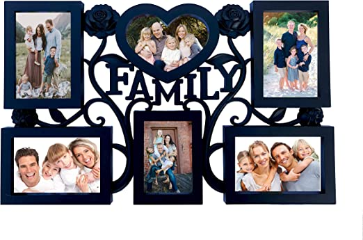 Antique Bronze Family Picture Photo Frame Holds 7 Photos Hanging Multi Frame New