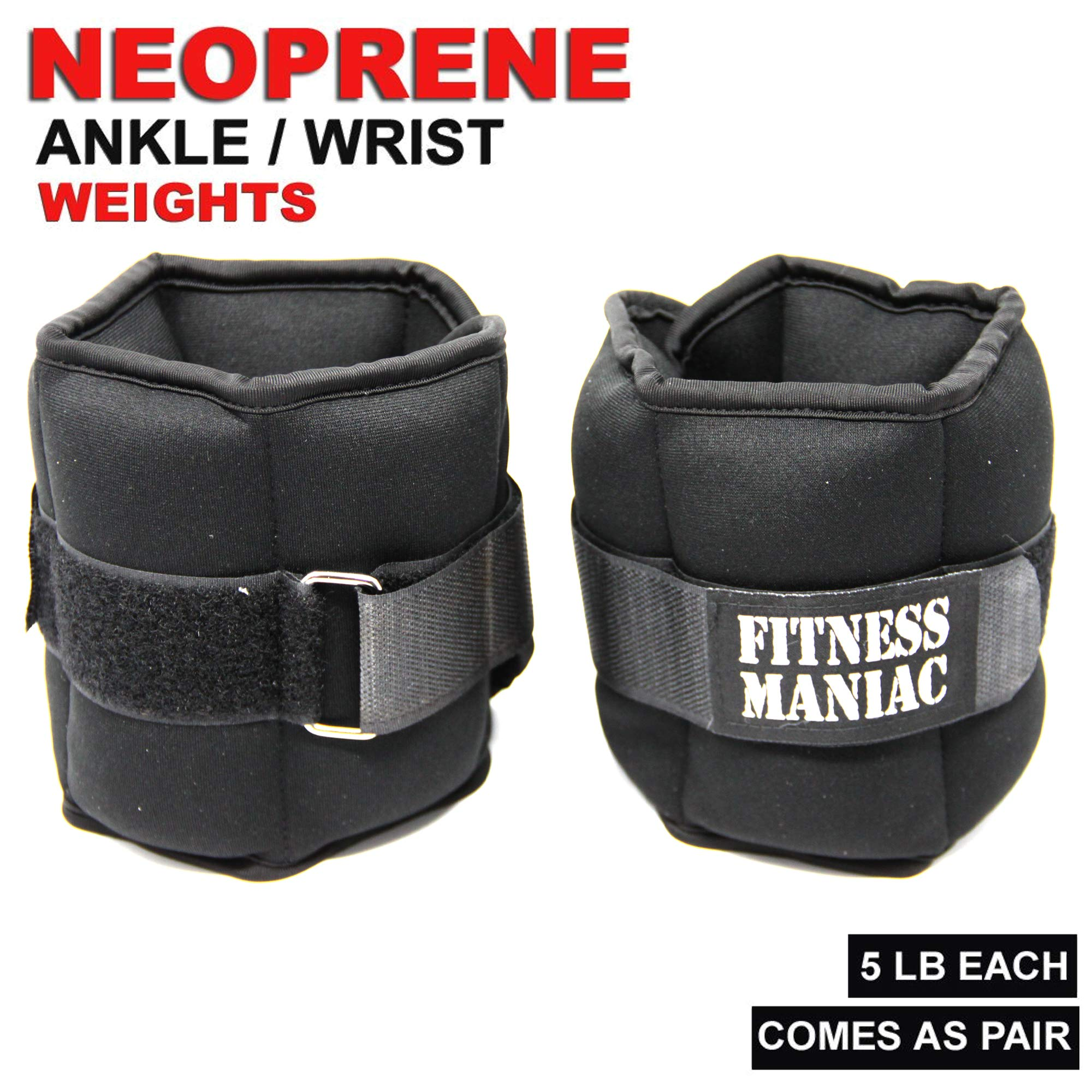 Adjustable Strap Wrist Ankle Weights 4lbs 6lbs 8lbs 10lbs Fitness Training Leg Exercise (8) by FITNESS MANIAC (Image #3)
