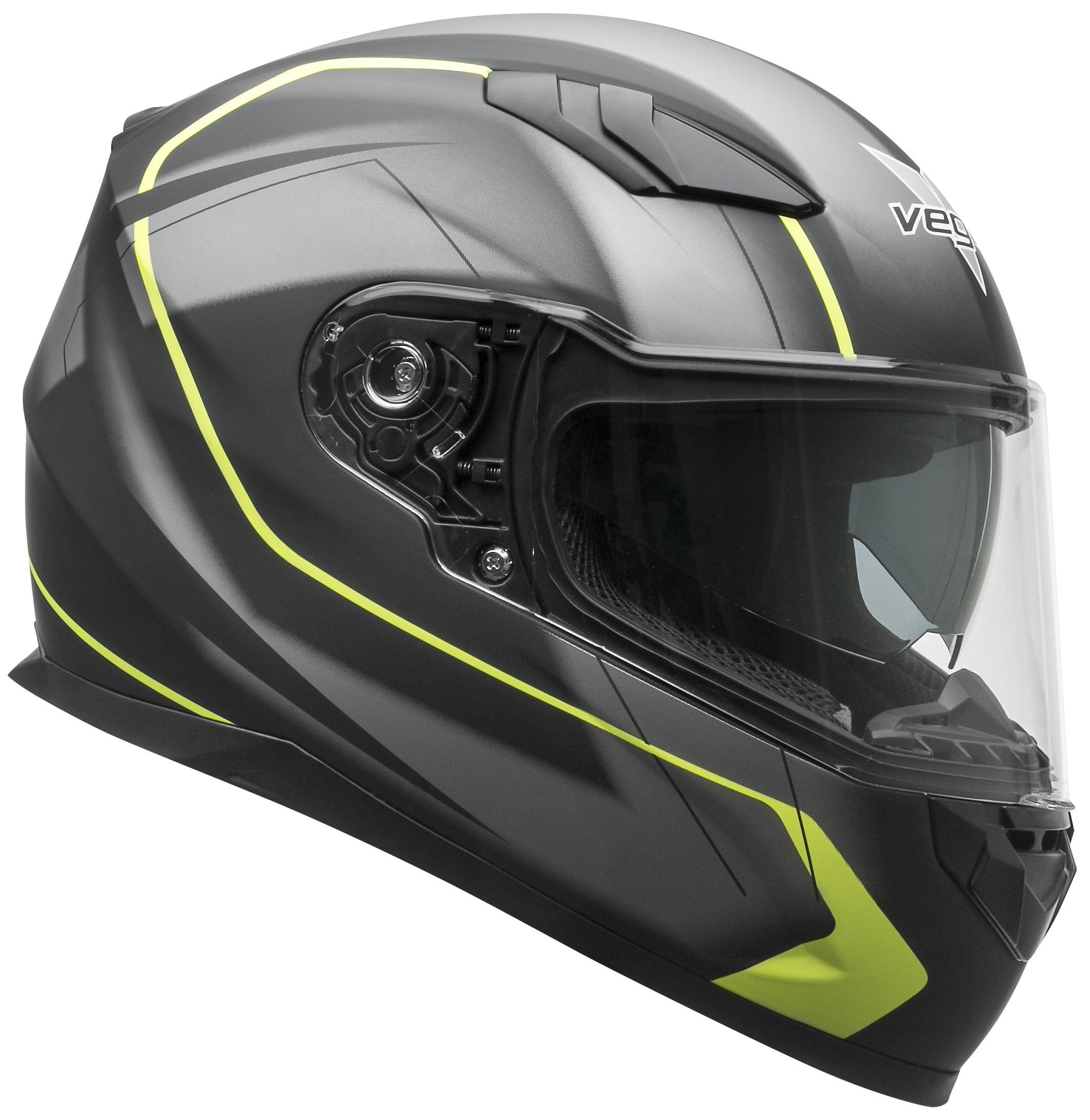 Vega Helmets RS1 Street Sunshield Motorcycle Helmet - DOT Certified Full Facerbike Helmet for Cruisers Sports Street Bike Scooter Touring Moped, Bluetooth Comp (Black Slinger Graphic, Small)