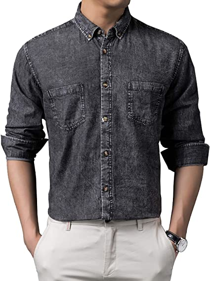 KTWOLEN メンズシャツ 長袖 無地 綿 デニムシャツ カジュアルシャツ ジャケット デニム 大きいサイズ 折り襟 通気吸湿