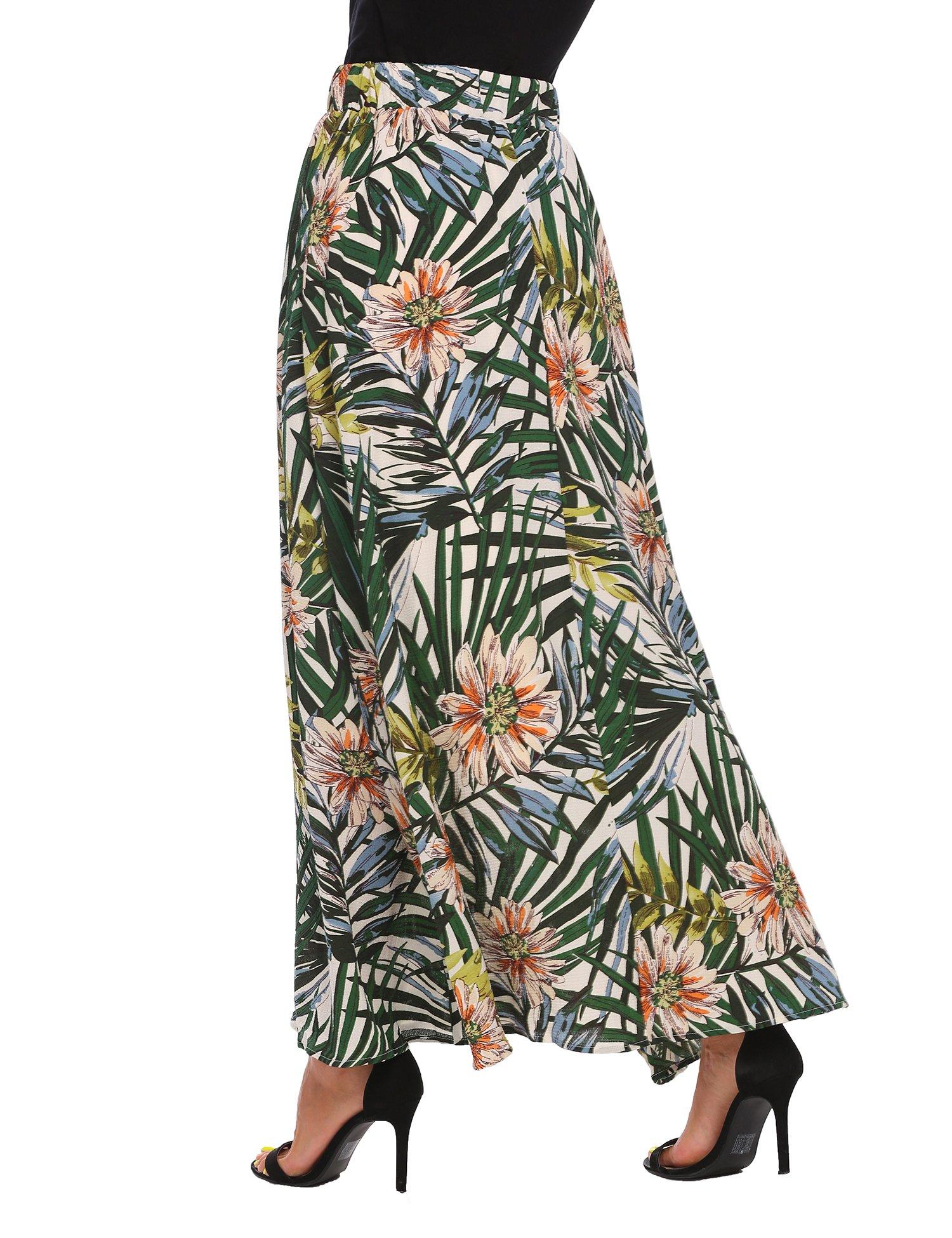 Zeagoo Women African Boho Floral Print High Waist Beach Party Bohemia Long Maxi Skirt, Green, X-Large