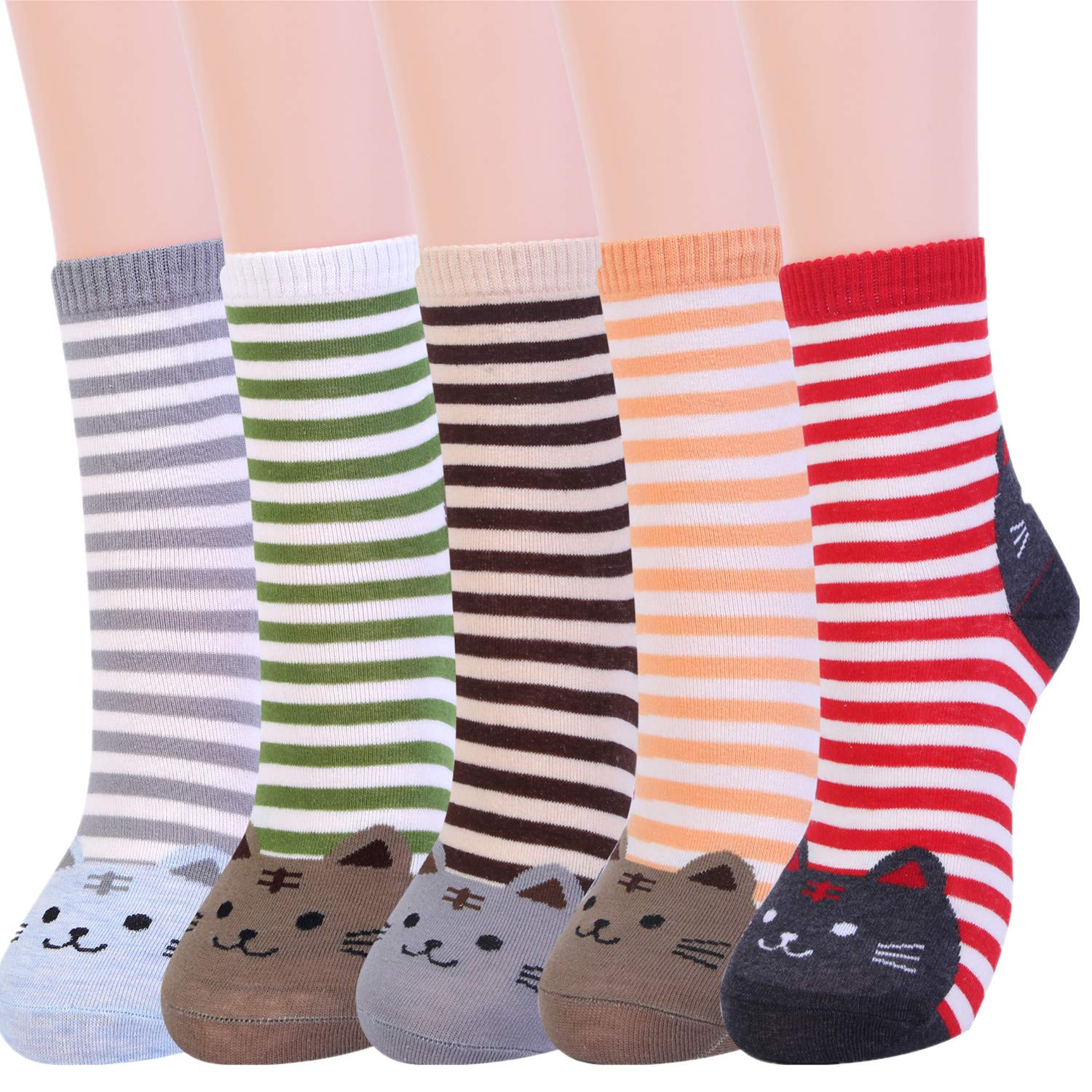 Women Funny Cat Socks Cute Animals Fun Funky Novelty Gift for Ladies Pack of 4-5 DE1