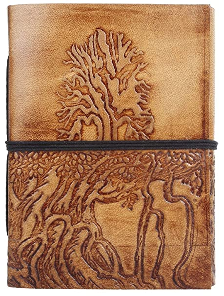 331269d2d4f4 Amazon.com   Hand Painted Tree of Life Leather Journal Diary Notebook Men  Women Small Gift for Him Her (7